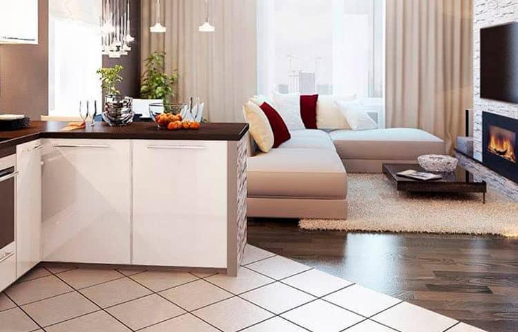 зонирование пола кухни и гостиной