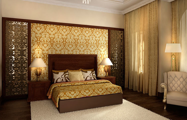 Спальня в золотом стиле