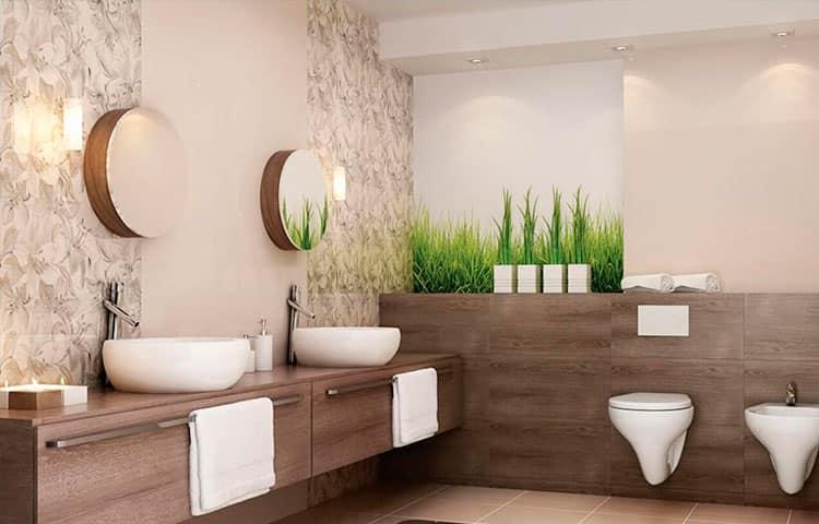 ванная с декором природы